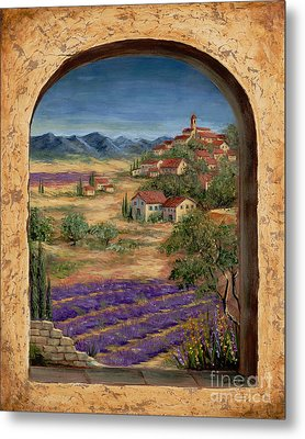 Lavender Fields And Village Of Provence Metal Print by Marilyn Dunlap