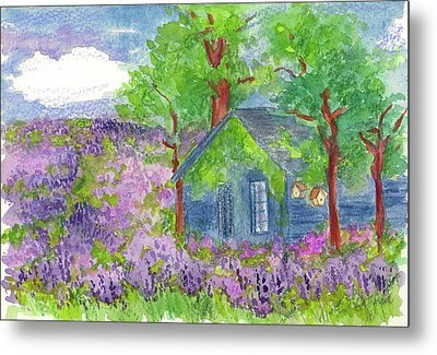 Metal Print featuring the painting Lavender Fields by Cathie Richardson