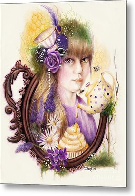 Metal Print featuring the drawing Lavender Honey by Sheena Pike