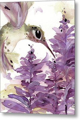 Metal Print featuring the painting Lavender Hummer by Dawn Derman