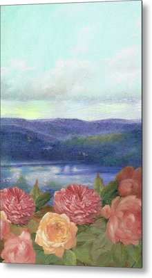 Metal Print featuring the painting Lavender Morning With Roses by Judith Cheng