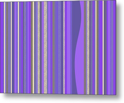 Metal Print featuring the digital art Lavender Random Stripe Abstract by Val Arie