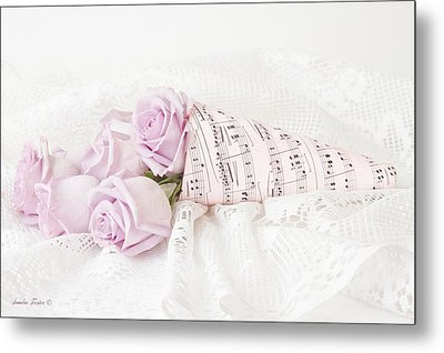 Lavender Roses And Music Metal Print by Sandra Foster