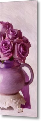 Lavender Roses And Tea Pot Metal Print by Sandra Foster