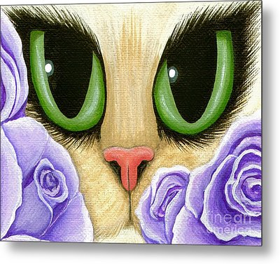 Metal Print featuring the painting Lavender Roses Cat - Green Eyes by Carrie Hawks