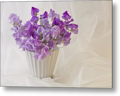 Lavender Sweet Peas And Chiffon Metal Print by Sandra Foster