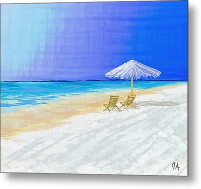 Lawn Chairs In Paradise Metal Print by Jeremy Aiyadurai
