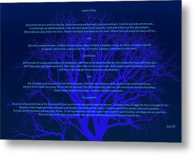Layers Of Blue Metal Print by Cliff Ball