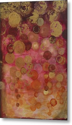 Layers Of Circles On Red Metal Print