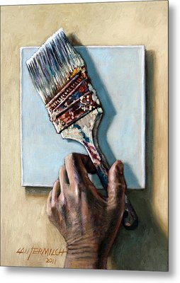Laying Down The Paint Brush Metal Print by John Lautermilch