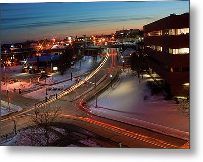 Metal Print featuring the photograph Lazer Lights In Bangor by Greg DeBeck