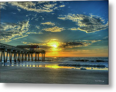 Metal Print featuring the photograph Lazy Days Of Summer Sunrise Tybee Island Pier Art by Reid Callaway
