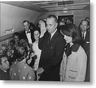 Lbj Taking The Oath On Air Force One Metal Print by War Is Hell Store