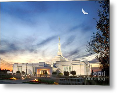 Lds Montreal Temple At Twilight Metal Print