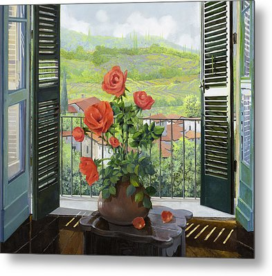 Le Persiane Sulla Valle Metal Print by Guido Borelli