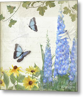 Metal Print featuring the painting Le Petit Jardin 1 - Garden Floral W Butterflies, Dragonflies, Daisies And Delphinium by Audrey Jeanne Roberts