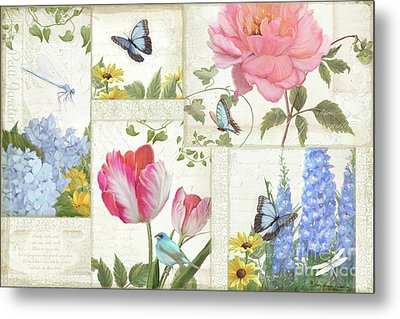 Metal Print featuring the painting Le Petit Jardin - Collage Garden Floral W Butterflies, Dragonflies And Birds by Audrey Jeanne Roberts