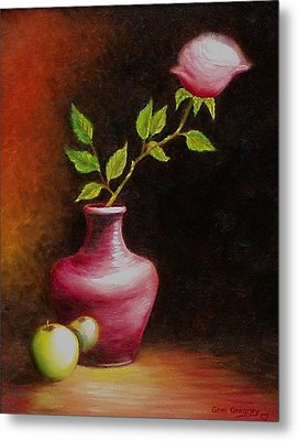 Metal Print featuring the painting Le Rose by Gene Gregory