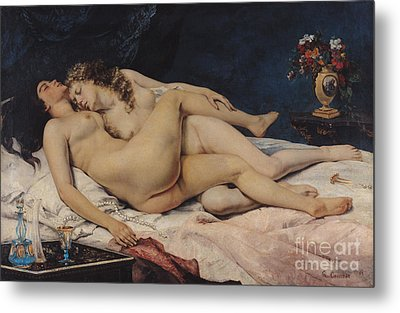 Le Sommeil Metal Print by Gustave Courbet