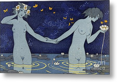 Le Vieillard Et Les Nymphes Metal Print by Georges Barbier