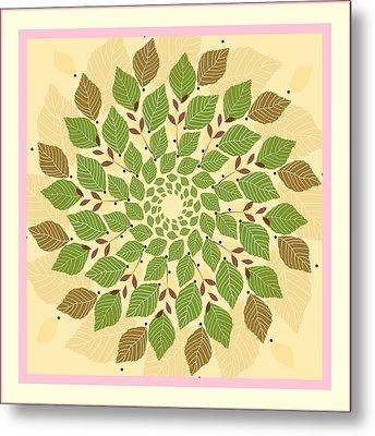 Leaf Mandala Metal Print by Rosemary Babikan