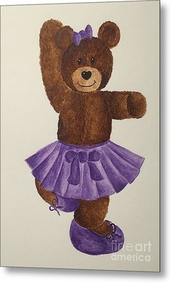 Metal Print featuring the painting Leah's Ballerina Bear 2 by Tamir Barkan
