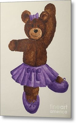 Metal Print featuring the painting Leah's Ballerina Bear 5 by Tamir Barkan