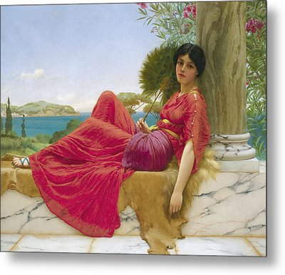 Leaning Against A Column Metal Print by John William Godward