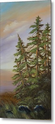 Metal Print featuring the painting Leaning Trees by Joni McPherson