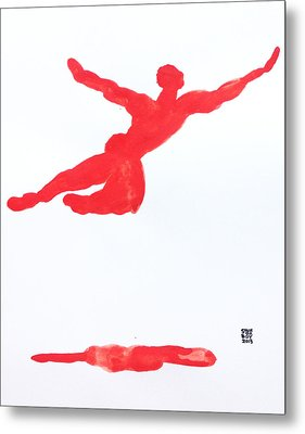 Leap Water Vermillion Metal Print