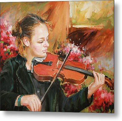 Learning The Violin Metal Print by Conor McGuire