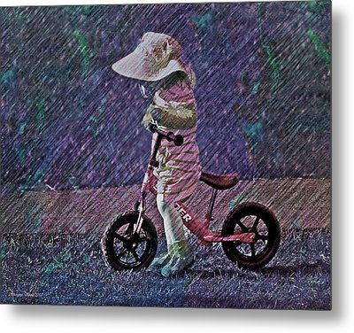 Learning To Ride Metal Print by Suzanne Stout