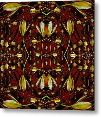 Leather In Floral Harmony And Peace Metal Print