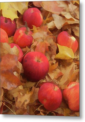 Metal Print featuring the photograph Leaves And Apples by Michael Flood