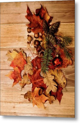 Metal Print featuring the photograph Leaves And Nuts And Red Ornament by Rebecca Cozart