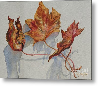 Metal Print featuring the painting Leaves Of Fall by Mary Haley-Rocks