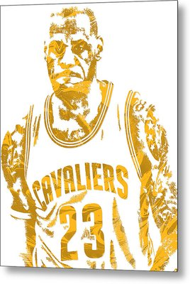 Lebron James Cleveland Cavaliers Pixel Art 10 Metal Print