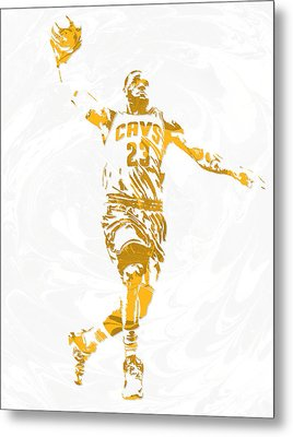 Lebron James Cleveland Cavaliers Pixel Art 12 Metal Print