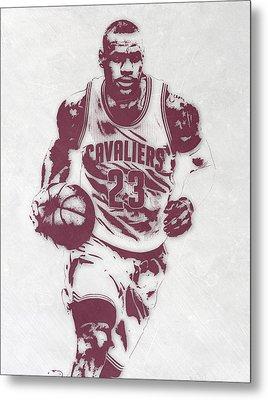 Lebron James Cleveland Cavaliers Pixel Art 4 Metal Print