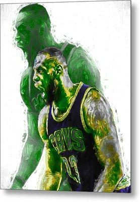 Lebron James Green Rage Hulk Cleveland Cavs Digital Painting Metal Print