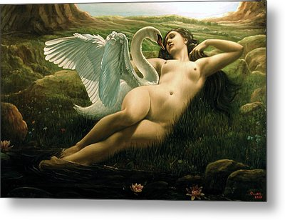 Leda And The Swan - Sensual Metal Print by Giovanni Rapiti