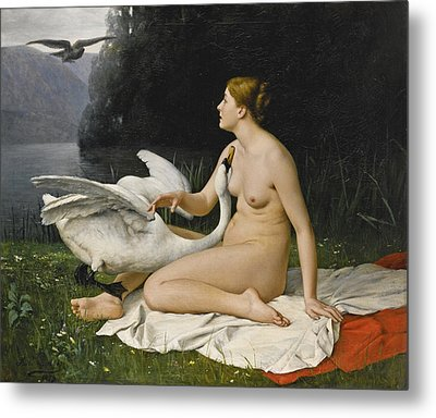 Leda And The Swan Metal Print by Paul Lazerges
