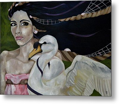 Leda And The Swan Metal Print by Victoria Dietz