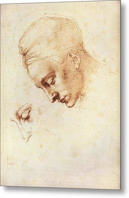 Leda's Head, Study Metal Print by Michelangelo Buonarroti