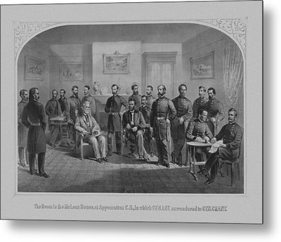 Lee Surrendering To Grant At Appomattox Metal Print