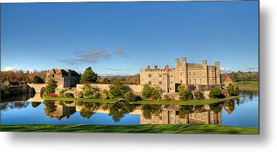 Leeds Castle And Moat Reflections Metal Print by Chris Thaxter
