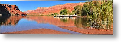Lees Ferry River Raft Panorama Metal Print by Adam Jewell