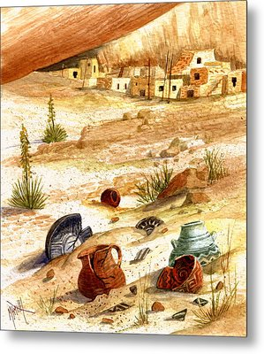 Metal Print featuring the painting Left Behind - Indian Pottery by Marilyn Smith