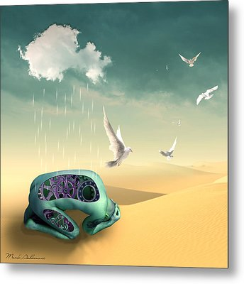 Left To Get Wet By The Desert Metal Print by Mark Ashkenazi