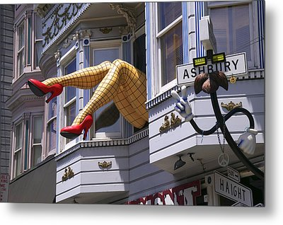 Legs In Window Sf Metal Print by Garry Gay